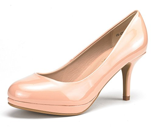 DREAM PAIRS Women's OL-CR Nude Pat Low Heel Stiletto Pump Shoes - 5 M US