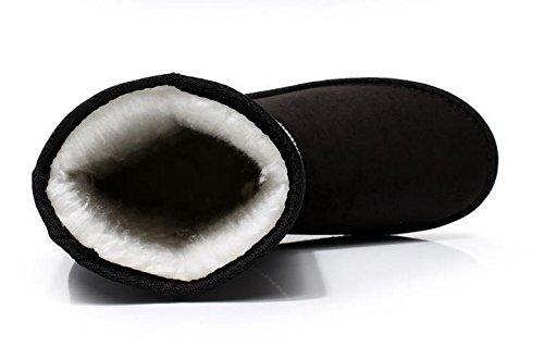 Minetom Mujer Zapatos Clásicos Botines Botas De Invierno Calentar Casual Cómodo Botas Negro