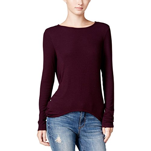 Chelsea Sky Womens Draped Open Back Knit Top Purple (The Chelsea Knit Top)