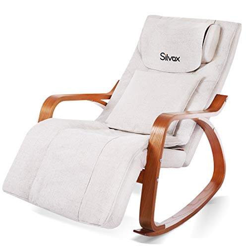 Massage Chair 3D Full Back Massager with Cushion, Rocking Design Recliner Chair, Adjustable Pillow, Vibrating and Heating, 6 Massage Modes, Wooden Handrail, Linen Cover with Zipper