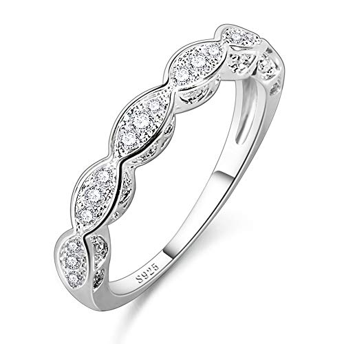 Humasol 925 Sterling Silver Filled Cubic Zirconia Half Eternity Stacking Ring Band for Women (3 And A Half Carat Diamond Ring)