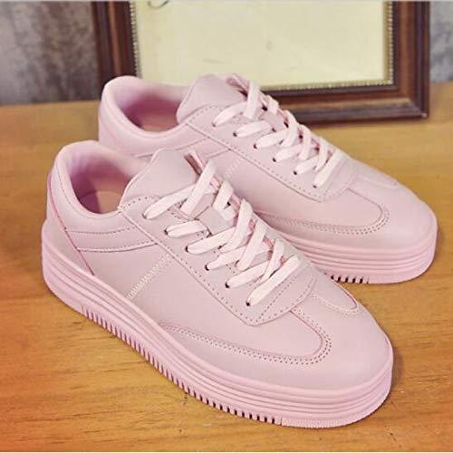 ZHZNVX Zapatos de Mujer PU (Poliuretano) Primavera/Verano Comfort Sneakers Flat Heel Cerrado Dedo del pie Blanco/Negro / Rosa Pink