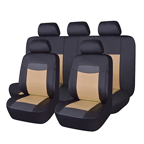 - Flying Banner PU Leather Car Seat Covers Universal Design with Side Airbags (Full Set(11 PCS), Beige)