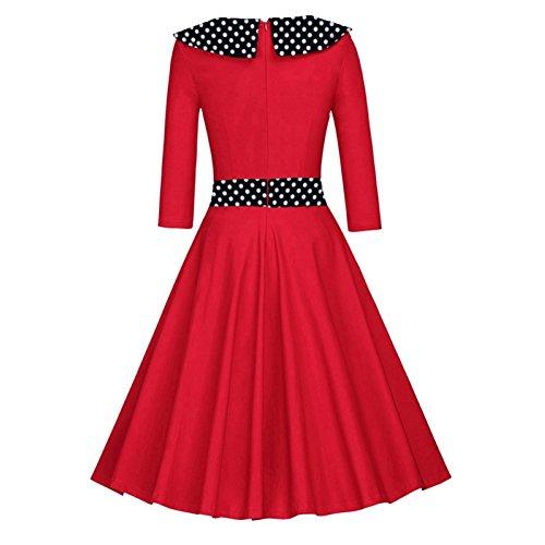 Là Vestmon - Vestido retro de cóctel para mujer, años 50, Swing, vintage, Rockabilly, vestido, plisado, falda, noche, vestidos, lunares, manga larga: ...