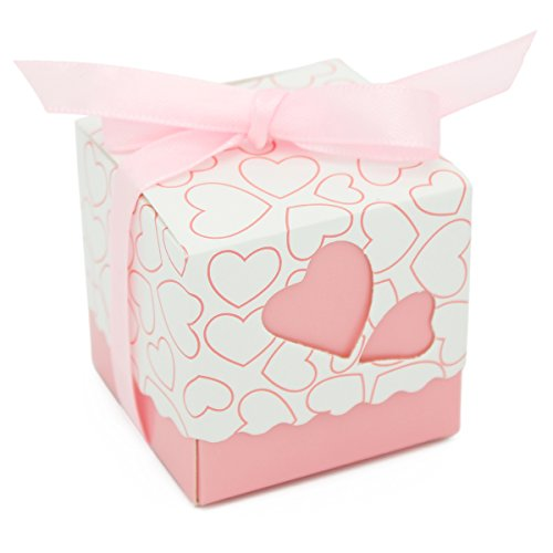 Heart Favor Box Kit (KAIL DIY Love Heart Candy Gift Boxes Wedding Bridal Favor Wedding Party Decor Kit 50pcs pink)