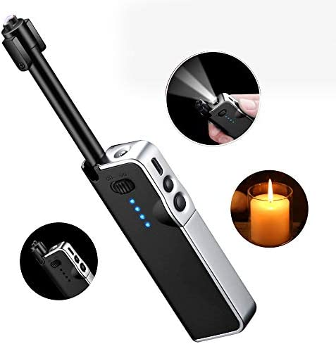 Candle Lighter USB Rechargeable Lighter No Harmful//Eco-Friendly No Spark/&Smell Rechargeable Flameless Portable Windproof Lighters Lighters Long for Grill with Power Indicator and Low Noise