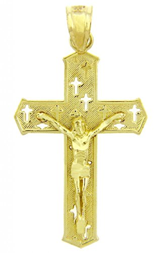 (Solid 14k Yellow Gold Cut-Out Cross Charm Passion Crucifix)