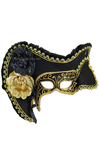 RedSkyTrader - Black and Gold Female Masquerade Ball Pirate Mask - Venetian - One Size fits Most - (Venetian Pirate Mask)