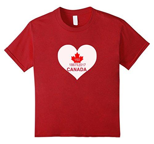 Kids Canada Day 2017   150 Years Birthday Tshirt 12 Cranberry