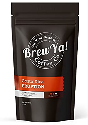 Costa Rica Eruption, Medium Roast Whole Bean Coffee by BrewYa! (16oz) Premium Arabica Beans