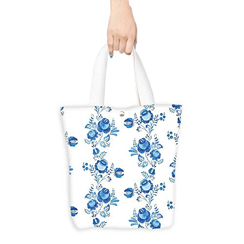 Packable Shopping Bag Traditional House Decor Russian Folk Floral Rose Branch Blossoms with Antique Effects Print White (W15.75 x L17.71 Inch)
