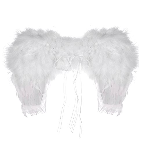 Lux Accessories White Halloween Dress Up Costume Heaven Feather Angel Wings