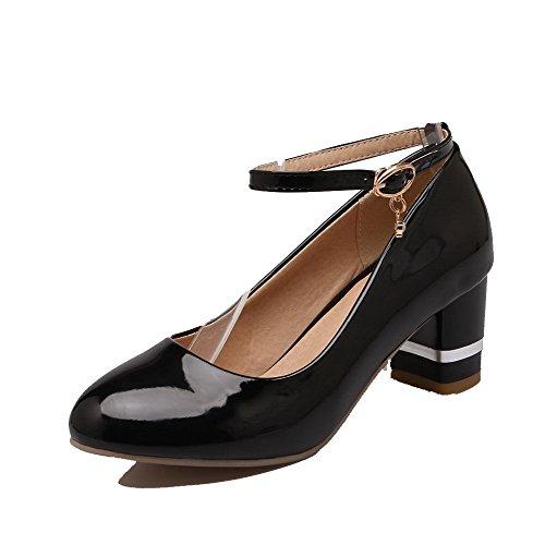 Amoonyfashion Mujeres Kitten-heels Pu Solid Hebilla De Punta Redonda-zapatos Negro