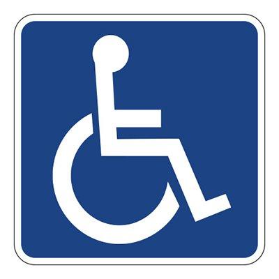 Handicapped Sign Blue Vinyl Sticker - SELECT SIZE ()