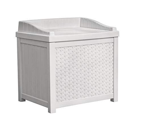 Suncast 22 Gallon Resin Storage Seat - Contemporary Indoor and Outdoor Bin Stores Tools, Toys, and Accessories - White - Cover Box Litter Brown Wicker