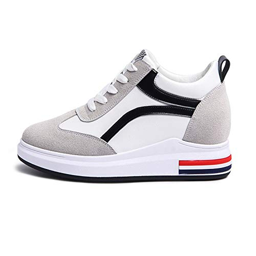 Rojo de Negro Blanco Round Comfort Sneakers Toe ZHZNVX Mujer Black Creepers Spring Negro White Suede Zapatos PqWfSgRw