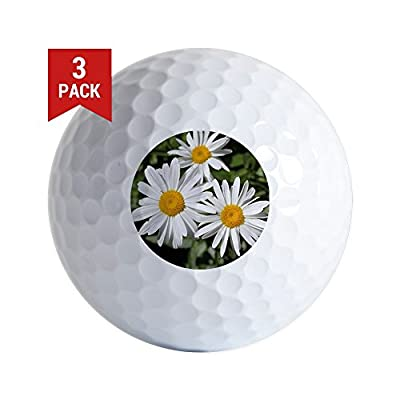 CafePress - Pretty Pure White Daisy Flowers. - Golf Balls (3-Pack), Unique Printed Golf Balls