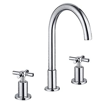 Yannlii Chrome Bathroom Sink Faucet Vessel Faucet Centerset Widespread Modern Two Handle Three Hole Faucets Sprayer Lavatory Faucets Unique Designer