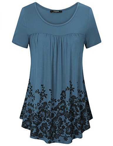 Sleeve Tops Floral Print Pleated Front Scoop Neck Casual Long Tunic Shirts (Large, Blue Grey) ()