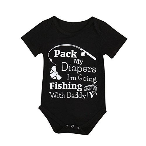 Omiky® Baby Jungen Mädchen Strampler Body Overall Outfits Sonnenanzug Kleidung Schwarz