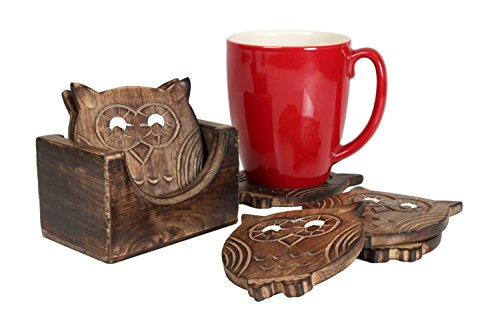 - Black Friday Set of 6 Wooden Owl Shaped Drink Coasters with Holder Kitchen Barware Dining Accessory