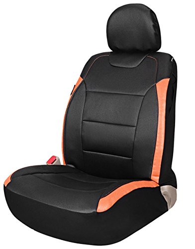 Leader Accessories Universal One Front Leather Seat Cover, Bucket Seat Protector - Fits Car Trucks suv with Airbag Black/Orange