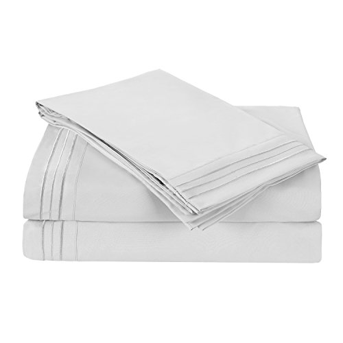 HollyHOME Collection 3 Pieces Ultra Soft Embroidered Bed Sheet Sets-deep pocket Brushed Microfiber 1800 Bedding For Twin Bed, White - Embroidered Fitted Sheet