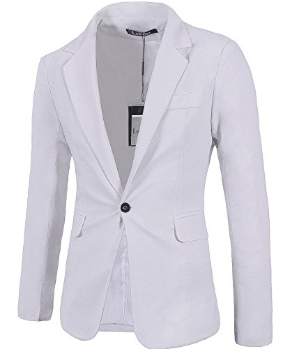 Lende+Men%27s+Fashion+Lightweight+Cotton+and+Lined+One-Button+Suit+Blazer%2C+White%2C+Large