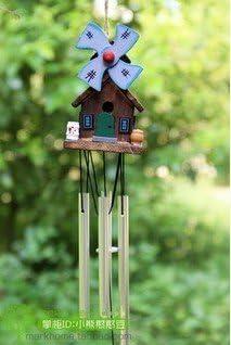 Campanilla barato cabañas madera metal jardín adornos puerta recorte poco casa molino de viento viento carillones azul bastante: Amazon.es: Hogar