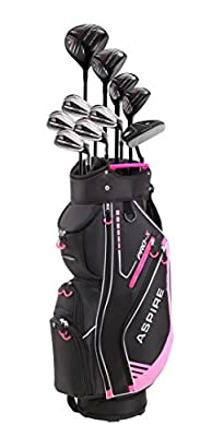 Aspire PRO-X Ladies Womens Complete Right Handed Golf Clubs Set Includes Titanium F Driver, 3 Fairway Wood, 4-5 Hybrids, 7-SW Irons, Putter, Cart Bag, 4 H/C's