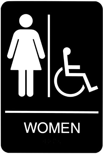 Headline Sign 9005 ADA Wheelchair Accessible Women's Restroom Sign with Tactile Graphic, 6 Inches by 9 Inches, Black/White