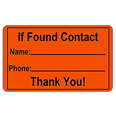 American Vinyl Orange IF Found Contact Sticker (Waterproof Kayak Canoe find): Automotive