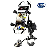 MOTOPOWER MP0622 Bike Motorcycle Cell Phone Mount Holder with USB Charger Alluminum Alloy