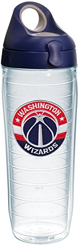 Tervis 1231071 NBA Washington Wizards Primary Logo Tumbler with Emblem and Navy with Gray Lid 24oz Water Bottle, Clear