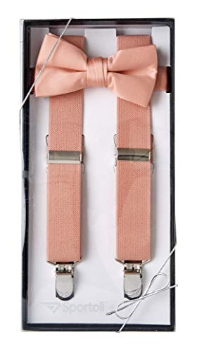 (Suspenders for Kids Gift Set Wedding Tuxedo Genuine Leather Premium 1 Inch Suspender -Peach (26 Inch))