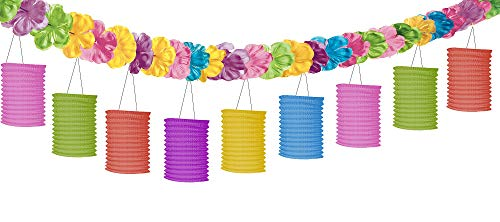 amscan Tiki Lounge with Flowers Party Lantern Garland, 10'