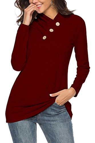 12bd4e5e21148 TITAME Womens Fall Casual Long Sleeve Cowl Neck Solid Knit Tunic ...