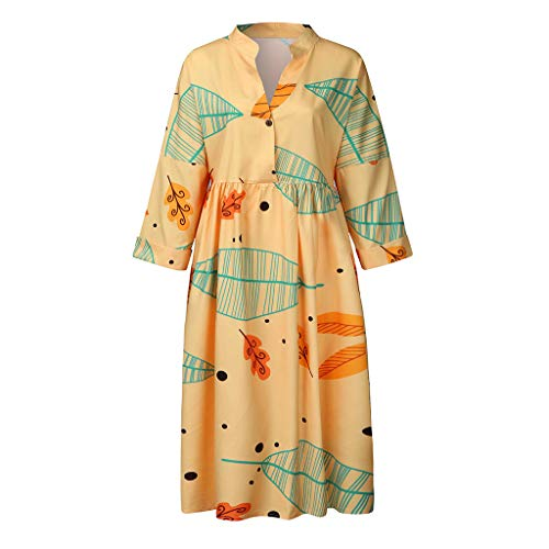 TANGSen Women Printing Dress Ladies Casual Button Plus Size Dresses Fashion V-Neck Loose Beach Dresses Yellow