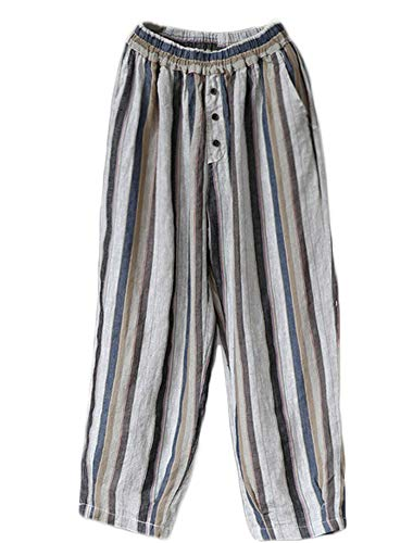 (LaovanIn Women's Striped Wide-Leg Cropped Pants Linen Capri Harem Casual Trousers Medium Dark Blue)
