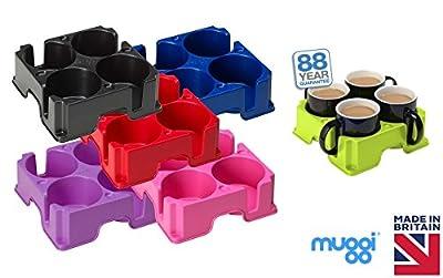 Muggi 4 Cup Mug Glass Bottle Holder Carrier Tray