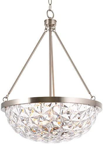 Kira Home Aurora 19 3-Light Modern Chic Pendant Chandelier Clear Crystal Style Bowl Shade, Adjustable Height, Brushed Nickel Finish