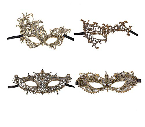 Ru S Exquisite High-end Lace Masquerade Mask (Golden/Venetian)(Pack of 4) (golden/13-16) ()