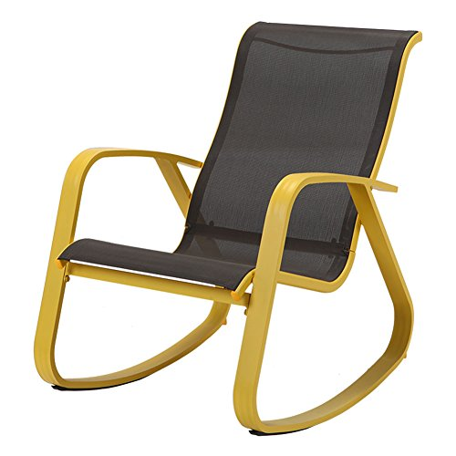 Grand patio Modern Sling Rocking Chair Glider with Yellow Aluminum Frame, Indoor / Outdoor