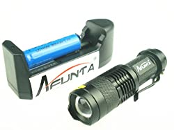 AFUNTA® 300lm Mini CREE Q5 LED Flashlight Torch Waterproof Adjustable Focus Zoom Light Lamp (With Rechargeable Battery & Charger) by AFUNTA®