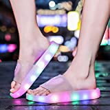 Fiaya Kids Summer Cartoon LED Glowing Light Princess Jelly Indoor Anti-Slip Shower Sandals Slippers...