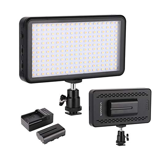 (LED Video Light KONNWAN 228 for Digital DSLR Camera, Camcorder, High Brightness Lumen Value,6000k Dimmable Switch with Color Filter Gel, led Vedio Lighting kit Included led Battery Charger stents)