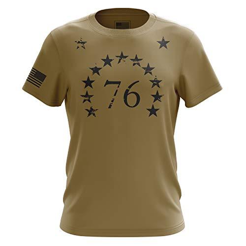 Shirts Military Khaki (Tactical Pro Supply 1776 American Stars Military Army T Shirt, Desert Khaki - Medium)