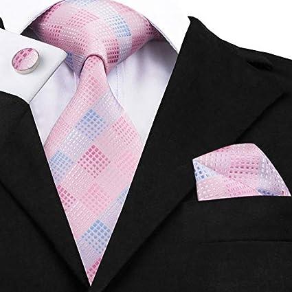 DJLHNCorbata de Boda sólida de Color Rosa durazno para Hombre ...