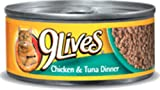 9 Lives Chicken and Tuna Dinner Canned Cat Food 5.50 oz, 4-Count (Pack of 6), My Pet Supplies