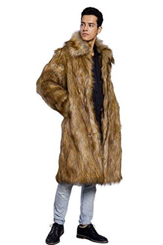 Amore Bridal Mens Faux Fur Coat Long Black Jacket Warm Furry Overcoat Outwear M